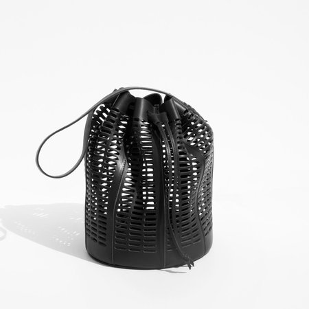 Modern Weaving Black Oval Die Cut Bucket Bag