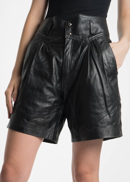 Situationist Black Leather Shorts