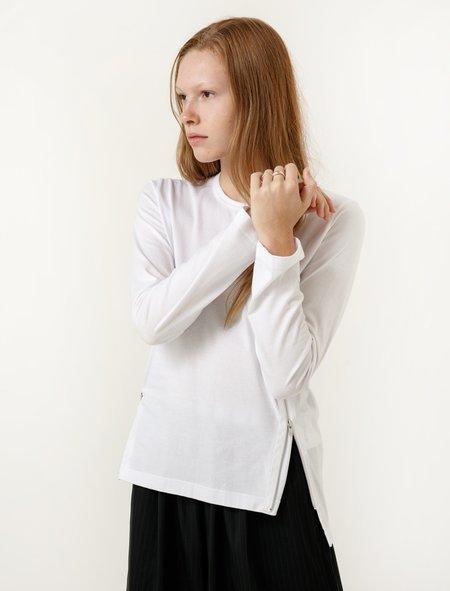 Comme des Garcons Comme des Garcons Womens White Zip Long Sleeve Tee