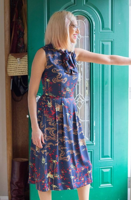 Birds of North America Killdeer Dress - Navy Bamboo