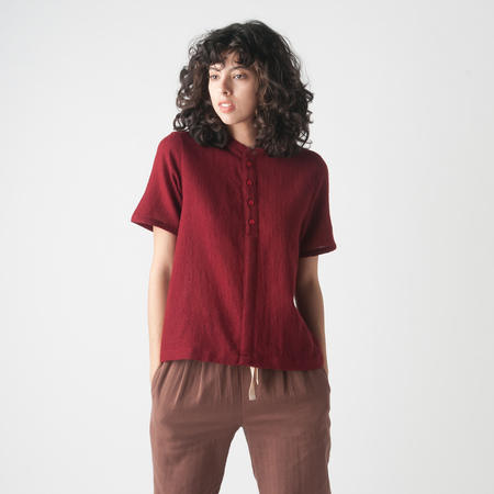 WRK-SHP Cropped Wool Shirt in Berry
