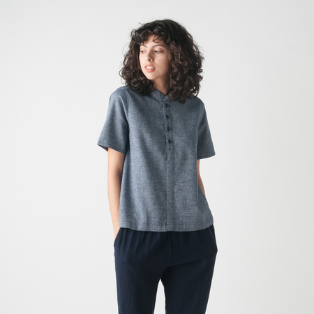WRK-SHP Cropped Waffle Shirt in Blue