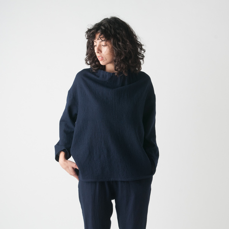 WRK-SHP Burl Cinched Top in Navy