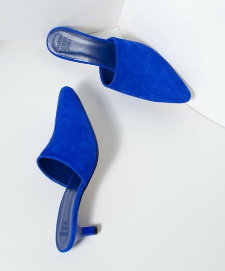 Maryam Nassir Zadeh Electric Blue Suede Andrea Mule