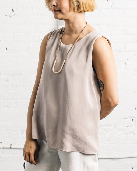 Kaarem Crassna Round Neck Sleeveless Layered Top - Cafe Sua