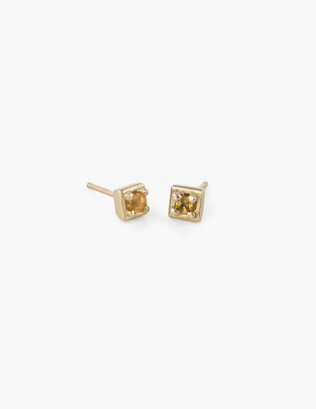 Dream Collective Tiny Square Studs in Yellow Sapphire