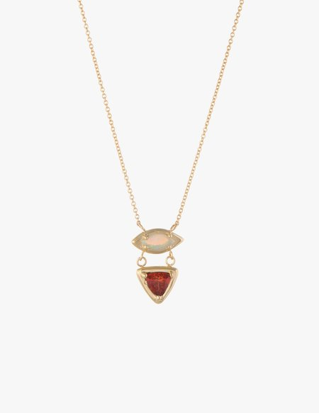 Dream Collective White Opal & Fire Opal Cluster Necklace