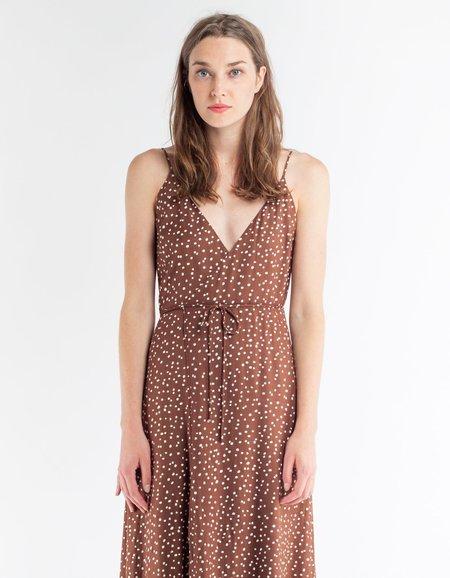 Ali Golden Wrap Tank Dress - Brown Dot