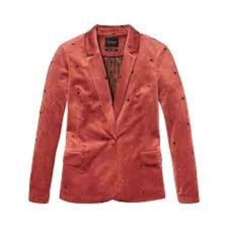 Scotch & Soda Tailored Velvet Blazer - Rosewood with Hearts