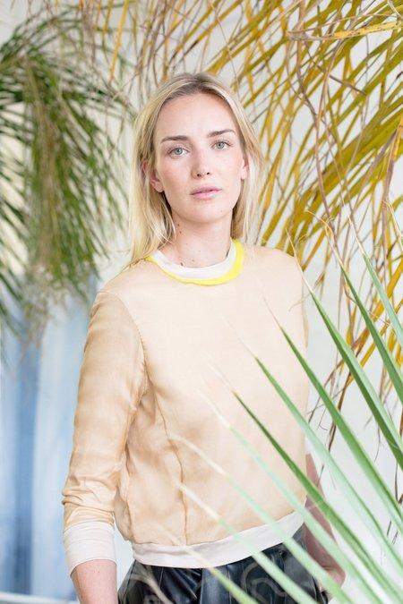 Heidi Merrick Tracy Silk Sweatshirt Top - Sand