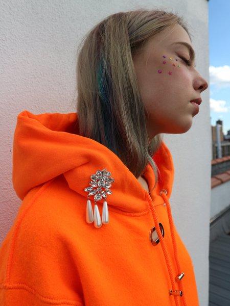 Collina Strada Grommet Sweathoodie with Embellishment - Neon Orange