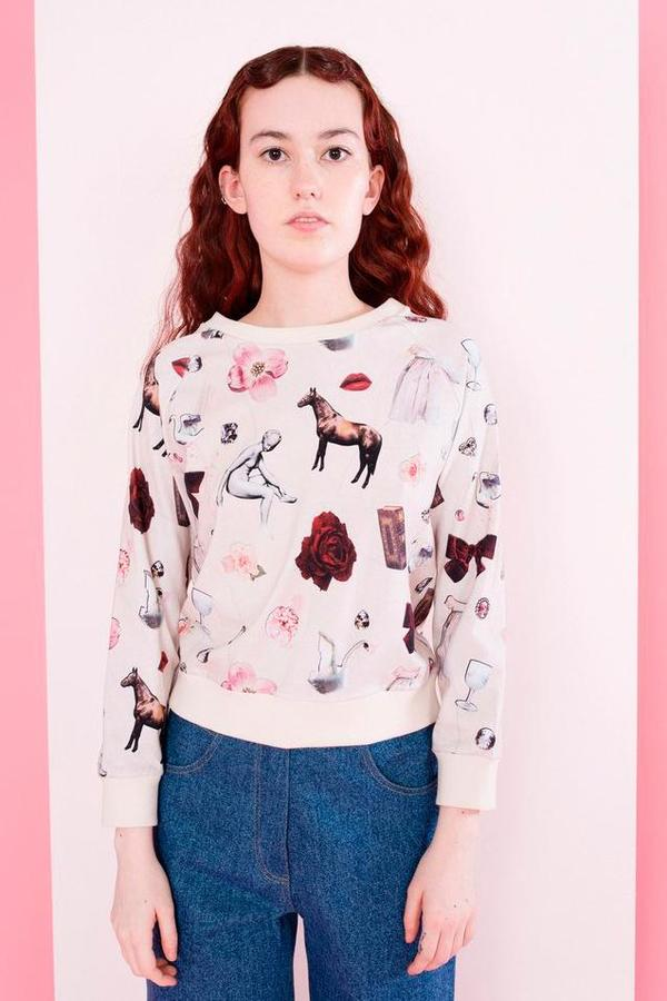Samantha Pleet Cuddle Shirt in Collage Print