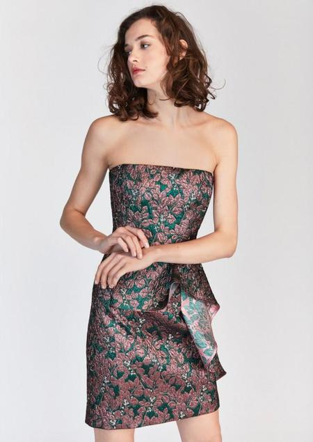 Tara Jarmon Strapless Jacquard Mini Dress