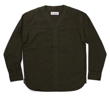 Universal Works V Neck Shirt - Olive Poplin
