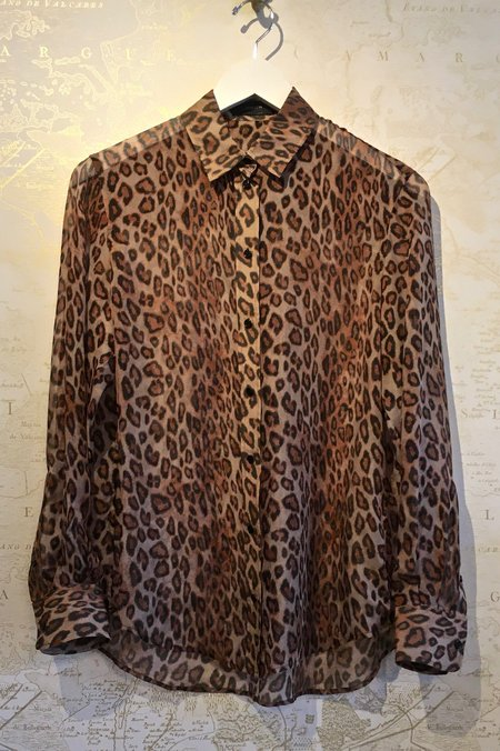 Joseph Leopard Print Silk New Garcon Blouse