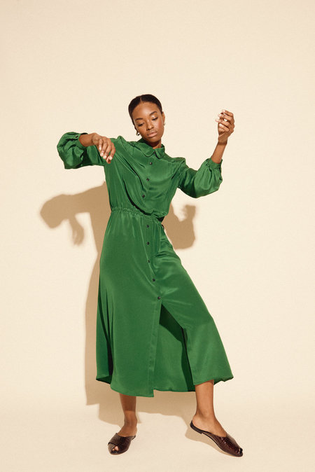 Kamperett Marian Silk Midi Dress - Emerald