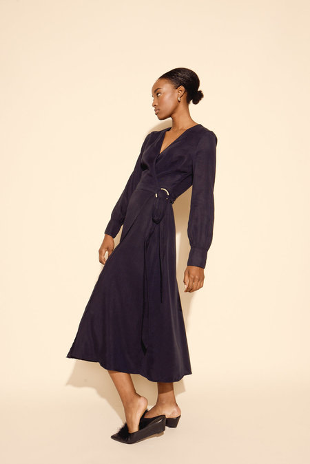 Kamperett Ellie Midi Wrap Dress - Midnight Navy