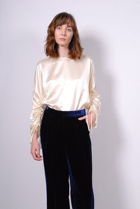 Tibi Crepe Satin Crewneck Top - Cream