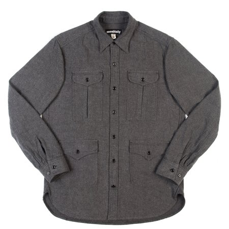 Monitaly Four-Pocket Military Shirt - Charcoal Herringbone Flannel