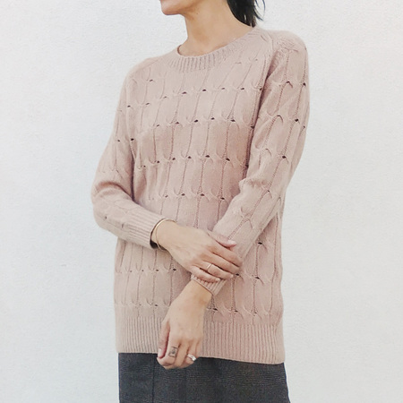 Ryan Roche Cable Sweater - Nude