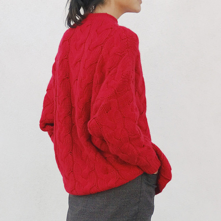 Ryan Roche Oversized Cable Sweater - Red
