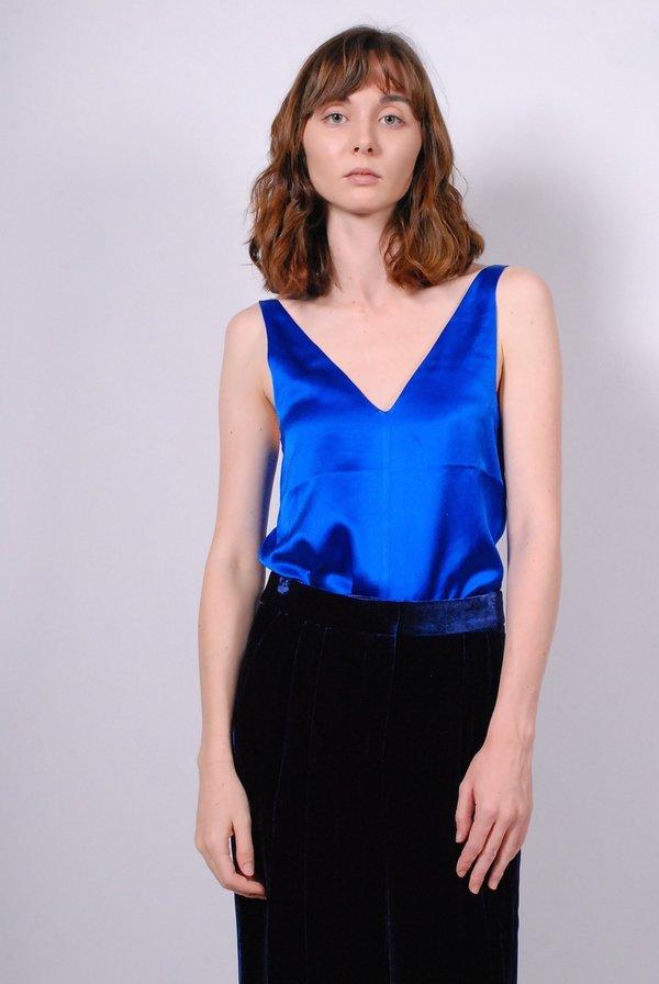 Tibi Crepe Satin V-neck Cami - Brodea Blue