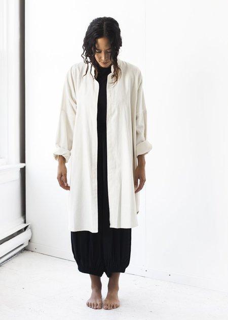 Black Crane Long Square Shirt in Cream