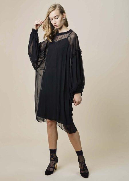 Louiza Babouryan Chiffon Poet Dress with Slip