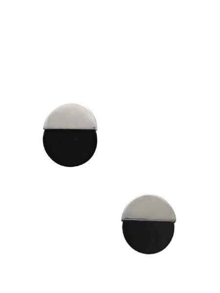 Beth Vintage Jewelry Circle Studs - Sterling Silver with Black Onyx