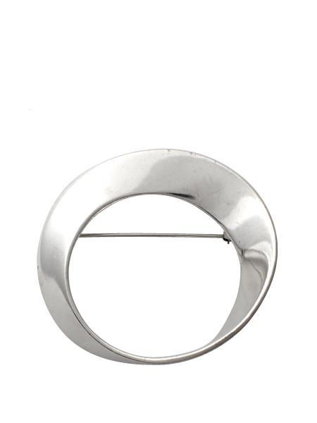 Beth Vintage Jewelry Inverted Circle Pin - Sterling Silver