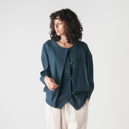 Black Crane Cotton Jacket in Midnight