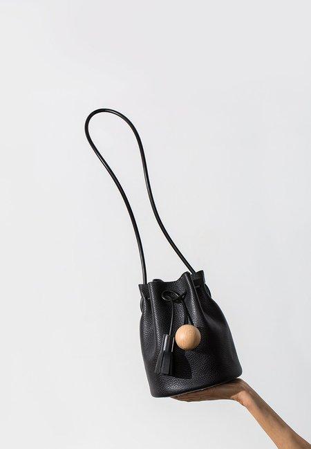 Building Block Mini Bucket - Pebbled Black Leather