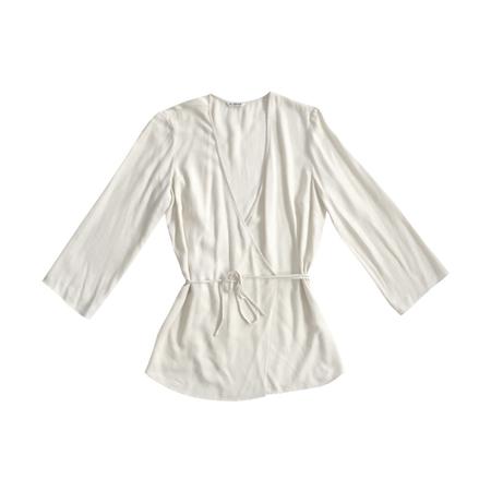 Ali Golden Long Sleeve Wrap Top - Cream