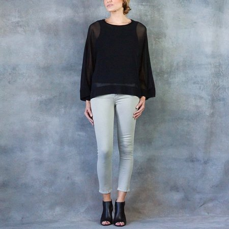 Go Silk Kimono Shirt in Washed Black