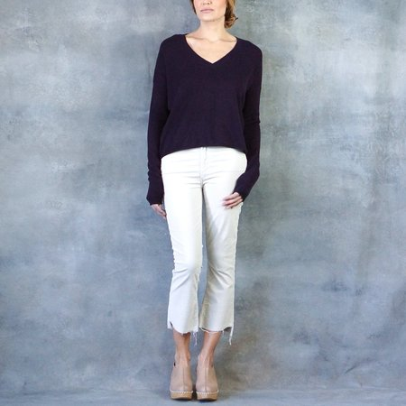 "Line the Label ""Jude"" V-Neck Cashmere Sweater in Mulberry"