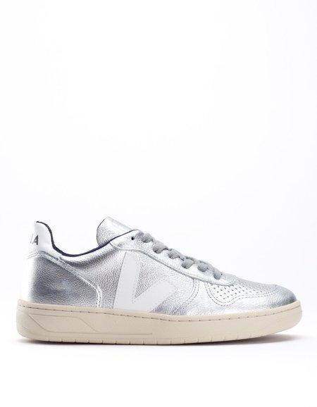 Veja V-10 Leather Sneaker Silver