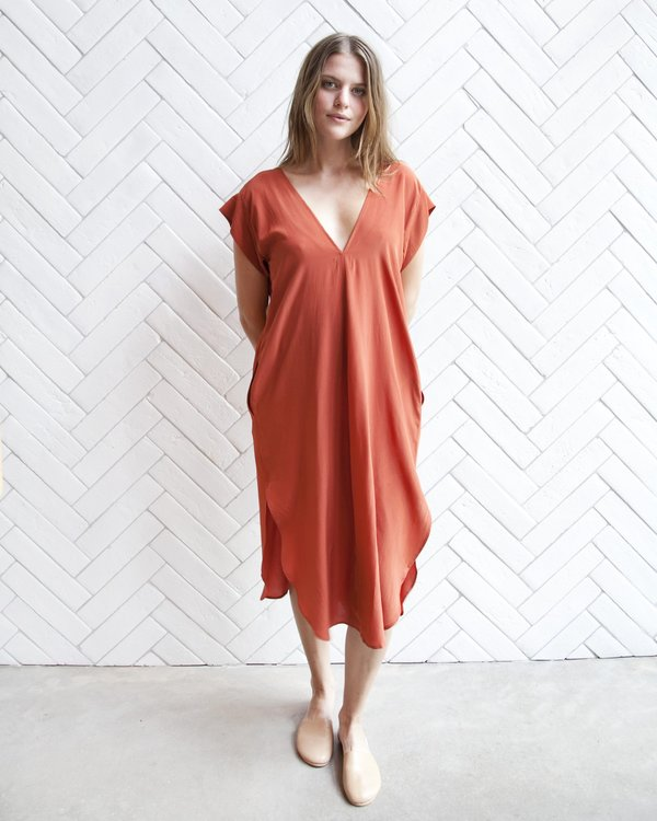 Esby Kate Silk Dress - Tomato