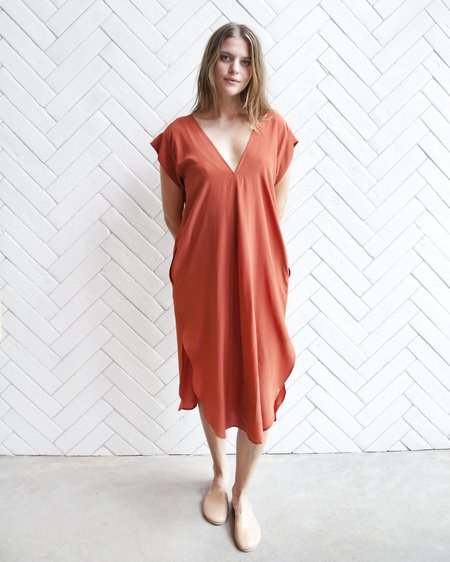Esby Kate Silk Dress - Tomato