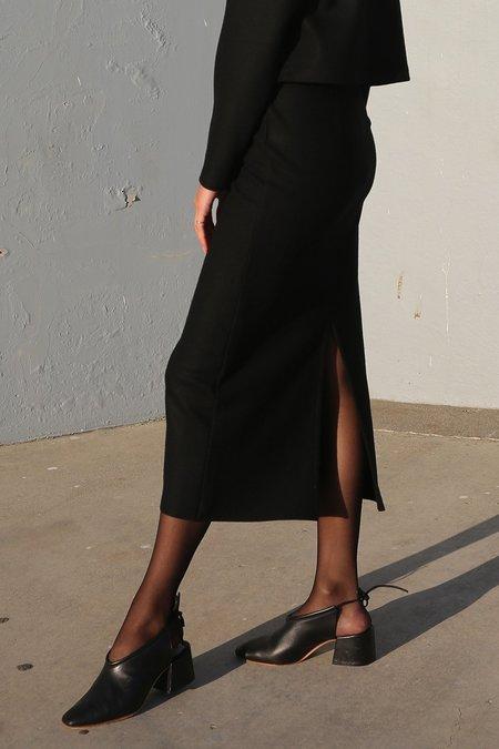 Waltz Wool Jersey Straight Skirt in Black