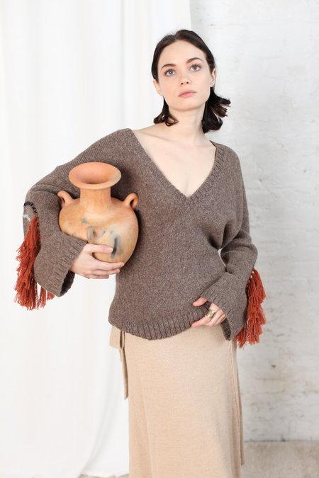 KORDAL Circle Fringe Sweater - Stone Grey