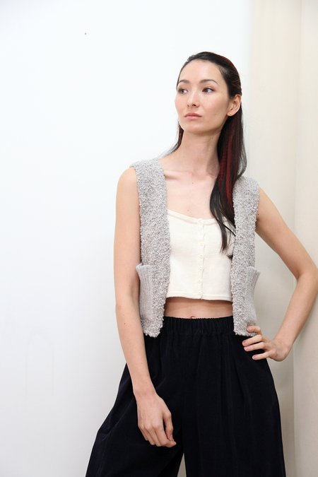 KORDAL Textured Wool Vest - Cloud Grey