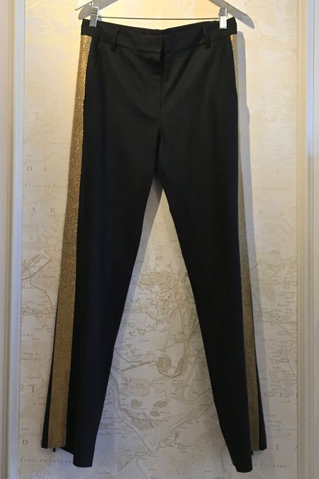 Tibi Tropical Wool Tuxedo Pant with Gold Detail