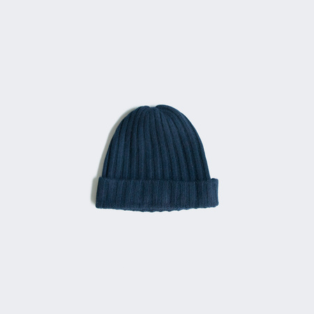 Creatures of Comfort Cashmere Wide Rib Beanie - Navy