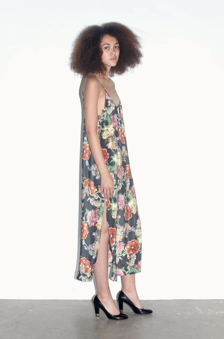 Strathcona Watercolour Bouquet Silk Slip Dress