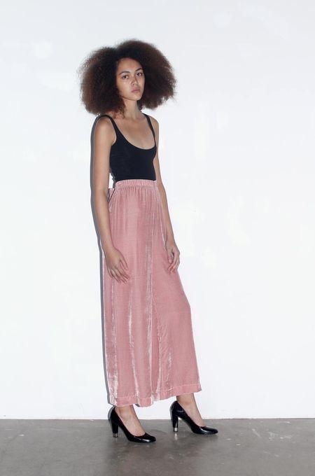 Strathcona Silk Velvet Culotte Pant in Blush Pink