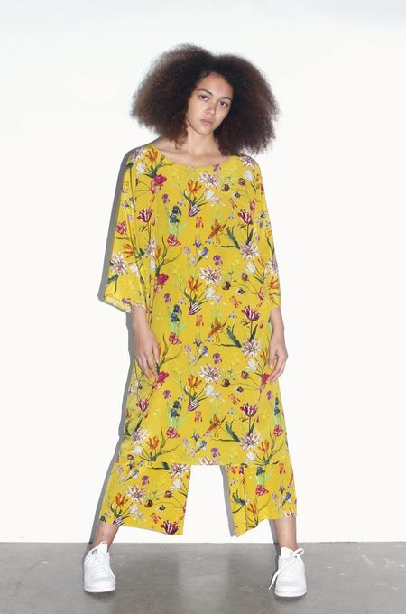 Strathcona Yellow Tulip Garden Tunic Dress