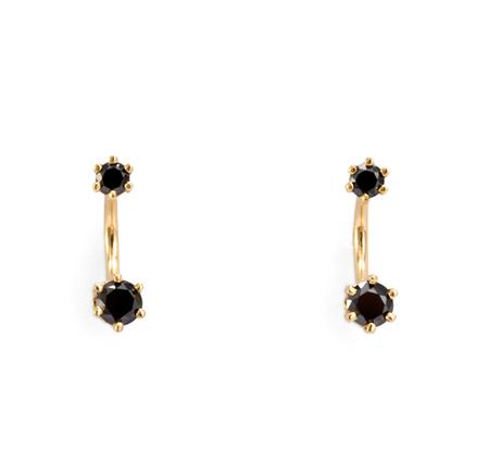 14K Twin Black Diamond Stud Earrings by Satomi Kawakita