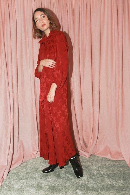 Caron Callahan Michelle Dress in Garnet Cupro Floral Jacquard