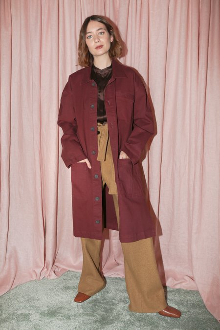Pari Desai Reed Mid-Length Coat in Bordeaux