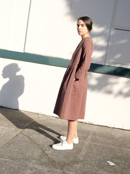 Wrk-Shp Studio Button Dress in Cocoa Cotton Gauze